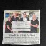 Spende fuer Olgaele Stiftung PI
